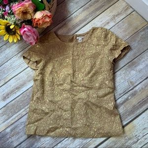 J. Crew Metallic Gold Top Elegant Basic